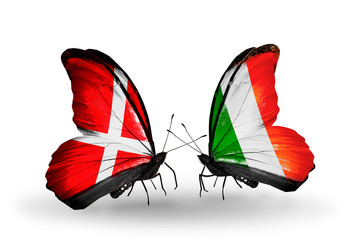 Two butterflies with flags Denmark and  Ireland