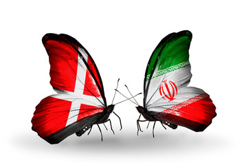 Two butterflies with flags Denmark and Iran
