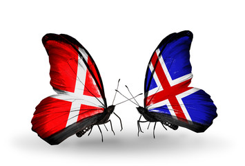 Two butterflies with flags Denmark and  Iceland