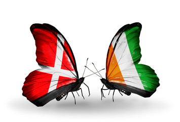 Two butterflies with flags Denmark and Cote Divoire