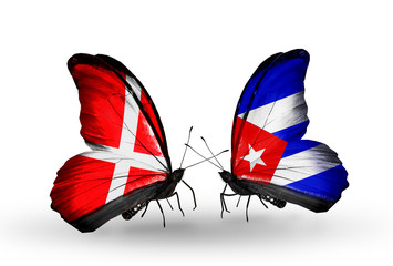 Two butterflies with flags Denmark and Cuba