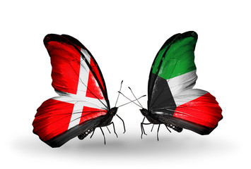 Two butterflies with flags Denmark and Kuwait
