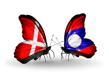 Two butterflies with flags Denmark and Laos