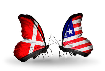 Two butterflies with flags Denmark and Liberia