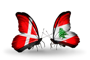 Two butterflies with flags Denmark and Lebanon
