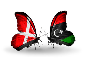 Two butterflies with flags Denmark and  Libya