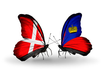 Two butterflies with flags Denmark and  Liechtenstein
