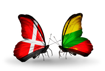 Two butterflies with flags Denmark and  Lithuania