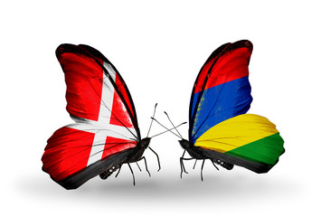 Two butterflies with flags Denmark and  Mauritius