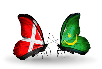 Two butterflies with flags Denmark and  Mauritania