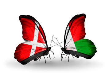Two butterflies with flags Denmark and  Madagascar