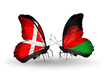 Two butterflies with flags Denmark and  Malawi