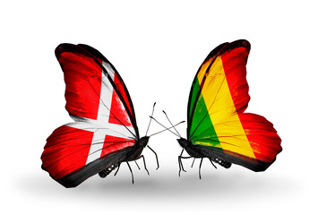 Two butterflies with flags Denmark and  Mali