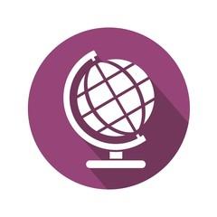Icono globo terráqueo botón morado