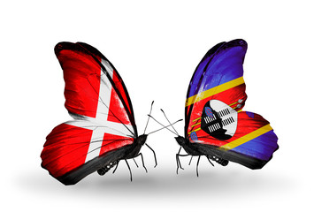 Two butterflies with flags Denmark and Swaziland