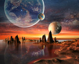 Fototapety Alien Planet With Earth Moon And Mountains