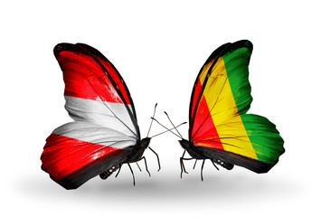 Two butterflies with flags Austria and Guinea