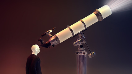 Man  looking through a telescope