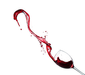 Red wine splash on white background