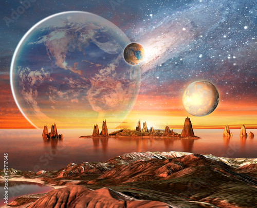 Fototapeta Alien Planet With Earth Moon And Mountains