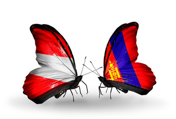 Two butterflies with flags Austria and Mongolia