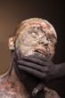 canvas print picture - color face art women portrait with monster devil black hands.