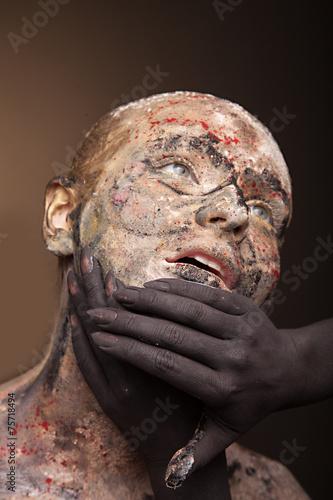 canvas print picture color face art women portrait with monster devil black hands.