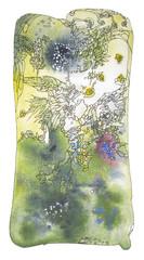 Art nouveau abstract, original watercolor painting.
