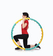 woman sitting with color hula hoop