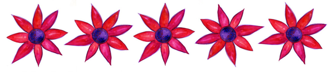 Five red watercolor painted flowers row isolated on white
