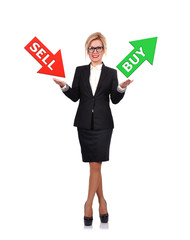 businesswoman holding sell or buy