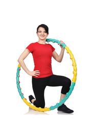 girl with color hula hoop