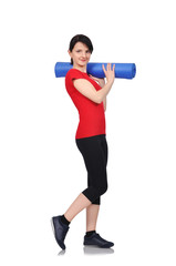 woman with mat for fitness