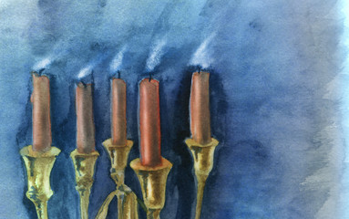 Blown out candles, closeup. Original watercolor painting.