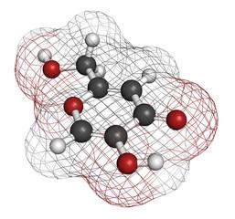Kojic acid molecule. Used as food additive.