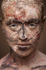 close up portrait of sad woman with face art. Scarry portrait