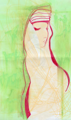 Girl in green meditating, original pastel sketch.