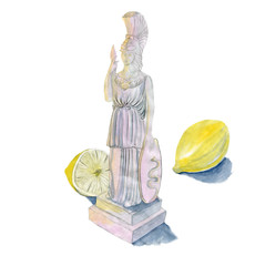 Pallas Athena and lemons watercolor sketch isolated on white