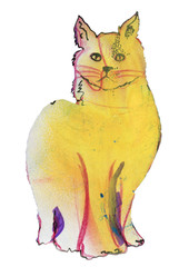 Yellow cat, original pastel sketch.