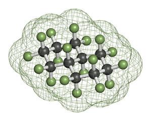 Perfluorodecalin fluorocarbon molecule.