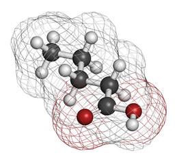 Valeric acid molecule. Smelly molecule.