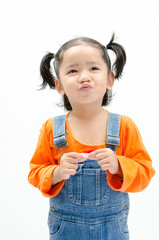 Isolated portrait asian baby girl