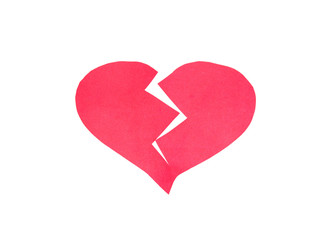Broken heart,Heart made of paper on white background