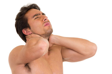 muscular shirtless man with neck pain