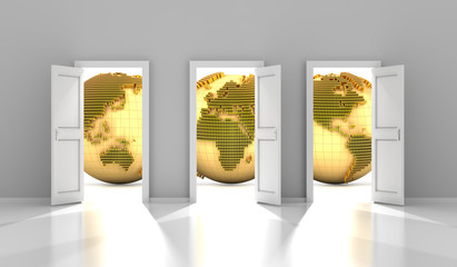 Doors to the global financial market, 3d render