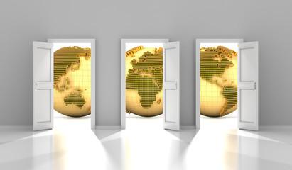 Doors to the global financial market, 3d render