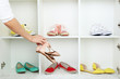 canvas print picture - Collection of shoes on shelves
