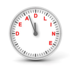 Clock with deadline text, 3d render