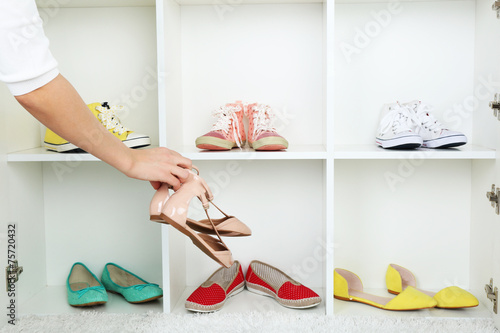 canvas print picture Collection of shoes on shelves