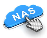 Clicking a cloud shaped NAS button, 3d render poster